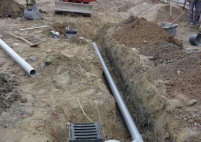 Het leggen van riolering, kabels en leidingen